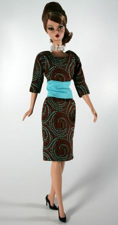Brown and Aqua Scoop necked Sheath for by ChicBarbieDesigns