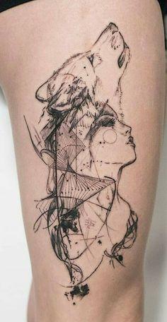 New Tattoo Femininas Ideas Tatuajes Ideas - tattoo feminina Wolf Tattoo Design, Tattoo Designs, Henna Designs, Trendy Tattoos, Small Tattoos, Tattoos For Guys, Tattoos For Women, Couple Tattoos, Wolf Tattoos