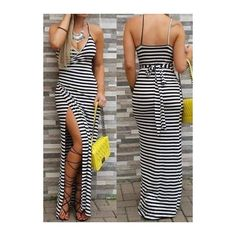 Rotita Open Back Sleeveless Striped Maxi Dress ($21) ❤ liked on Polyvore featuring dresses, black, sleeveless maxi dress, strappy maxi dress, print maxi dress, spaghetti strap dress and black striped dress