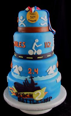 What a cute idea! A Triathlon Cake! <also really like this one.  Leave off the bottom layer entirely.  Change orange to red and make the Medal say 40>