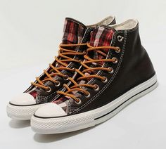 plaid converse with boot laces-uk
