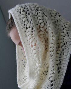 """Crochet White Mohair Oversized Cowl """"Iris"""""""