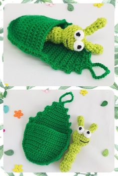 Waldorf toy Caterpillar toy caterpillar in leaf Small toys waldorf easter Crochet toy caterpillar one Toddlers gift montessory toy Travel