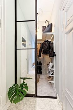 My apartment (Lene Orvik) Shallow Cabinets, Open Plan Apartment, Savvy Southern Style, Shoe Storage Cabinet, How To Store Shoes, Bathroom Furniture, Wardrobe Rack, Wardrobe Doors, Storage Spaces
