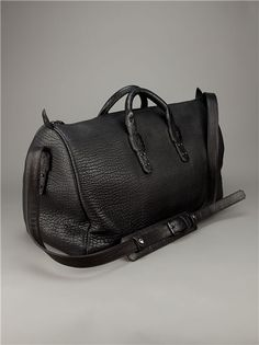 Black Bison Leather Duffel Bag by Parabellum. Beautiful.