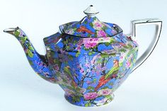Tea Pot & Lid in the Blue Chintz (black Trim) pattern by Crown Ducal - http://www.replacements.com/webquote/CRDBLC.htm
