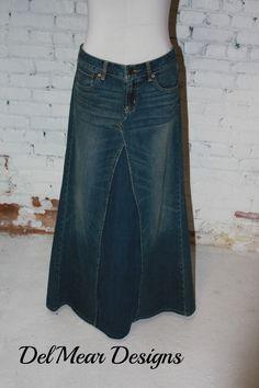 Custom Womens Long Denim Modest,**Maxi Denim Skirts**upcycled jeans sizes 0-24 #handmade #Maxi