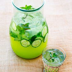 Cucumber Mint Spritzer | MyRecipes.comEnglish cucumber $ Fresh mint leaves from 6 large sprigs 1/4 cup simple syrup 1/4 cup orange juice $ 1/4 cup lime juice $ 1 teaspoon orange blossom water* 1 can (12 oz.) club soda