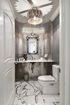 Art Deco Powder Room with MS International Arabescato Statuary Marble, ISI Silver 1 x 1 Mirror Glossy Glass Tile, Powder room