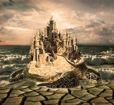 scaricare gli sfondi mare,  onde,  tartaruga,  castello Sfondi gratis per la risoluzione del desktop 2162x2000 — immagine №632714