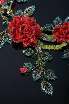 seed bead roses and Russian leavesThe Centre Of The Necklace - Absolutely Stunning! Beading goals right here.not sure I'd have the patienceRose Bead Necklace No pattern but too gorgeous not to pin.Cascading Flowers by June Huber. Seed Bead Jewelry, Bead Jewellery, Beaded Jewelry, Seed Bead Flowers, French Beaded Flowers, Cascading Flowers, Couture Embroidery, Ribbon Embroidery, Hand Embroidery Designs