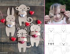 Slikovni rezultat za animals of africa-craft in kindergarten Cute Valentines Day Ideas, Kinder Valentines, Valentines Sweets, Africa Craft, Origami, Blog Bebe, Valentines Bricolage, Diy Gifts, Handmade Gifts