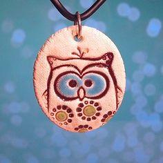 Blue Eyed Owl Pendant!!!!