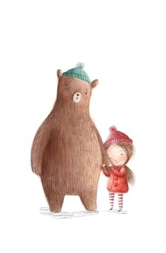 Rosie Butcher Illustration, bear and girl Desenho Kids, Art Magique, Arte Sketchbook, Bear Art, Children's Book Illustration, Cute Art, Illustrations Posters, Illustrators, Character Design