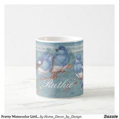 Pretty Watercolor Little Blue Birds Personalized Coffee Mug