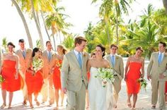Beach wedding colors: bright orange and baby blue | Photo by Artist Group Photography