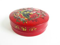 Vintage Baret Ware Tin, Miniature Round Tin, Snuff Tin, Made in England, Asian Decor by FoxLaneVintage on Etsy Asian Decor, Eclectic Decor, Tin, Miniatures, England, Decor Ideas, Unique Jewelry, Handmade Gifts, How To Make