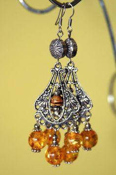 Beautiful metal earrings with elements of stone #handmade #bijou #earrings