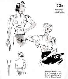 1930s 30s Blouse Pattern Vintage sewing art deco bust 34 34   Retro 30s Art Deco era blouse with unique collar design, darted puff sleeves in two length and belted fitted waist