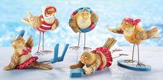Set of 5 Lovable Summer Beach Bird Sitters - BIRDS GONE WILD!  get it?  = )