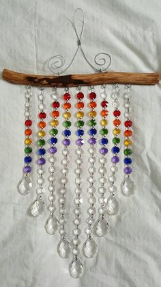 Beaded Wind Chimes Ideas - 9 Strand Rainbow and Waterfall Suncatcher Summer Crafts, Fall Crafts, Christmas Crafts, Halloween Crafts, Vintage Christmas, Beaded Crafts, Wire Crafts, Diy Wind Chimes, Hanging Crystals