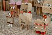 left over odds and ends from wood and other craft supplies? make some cute lil robot monsters! Kids Crafts, Wood Crafts, Arts And Crafts, Wood Projects, Projects To Try, Pot Pourri, Recycling, Kids Wood, Wooden Blocks