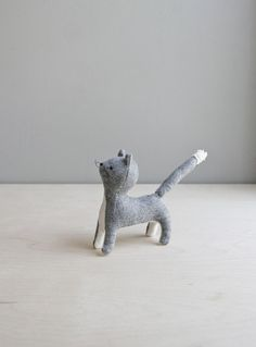 grey cat / soft sculpture animal by ohalbatross on Etsy