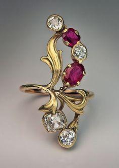 Art Nouveau Ruby Diamond Antique Russian Ring