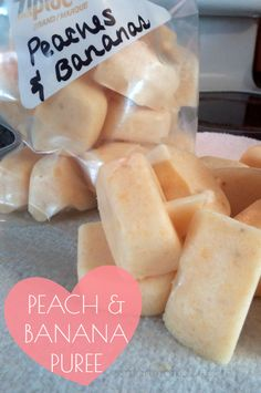 """Simple Peaches and Banana recipe for your month old or pass off as """"icecream"""" to your toddler! Homemade in 10 minutes - Baby Puree, Toddler Meals, Kids Meals, Toddler Food, Baby Food Recipes, Snack Recipes, Baby Bullet Recipes, Food Baby, Detox Recipes"""