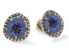 Jessica Lauren Designs - jewelry - 18-karat blackened white gold, azurite and diamond earrings  Featuring sparkling azurite, Jessica Lauren's handmade 18-karat blackened white gold earrings are a delightful piece. The blueberries are highlighted by 0.66-carat champagne diamonds. This one-of-a-kind design is too amazing to reserve for evening - wear yours for day-long glamour. For pierced ears.