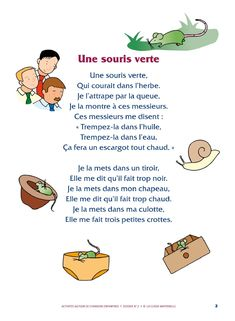 Des activités autour de la chanson « Une souris verte » pour les élèves de PS, GS et MS.