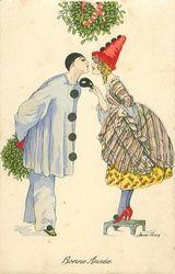 Xavier Sager Art New Year Postcard Girl Kissing Pierrot Clown Mistletoe 107514 Christmas Images, Vintage Christmas, Pierrot Clown, Costume Carnaval, Vintage Clown, New Year Postcard, Send In The Clowns, Nouvel An, Mistletoe