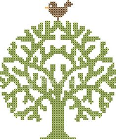 Embroidery tree and bird. Royalty Free Stock Vector Art Illustration