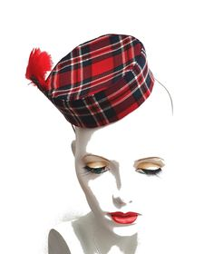 Tartan plaid pillbox cigarette girl hat in red feather detail and elastic fixing by SHMillinery on Etsy