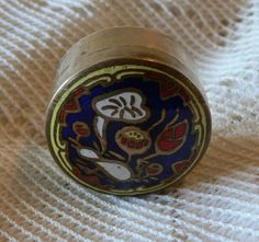 Vintage French Enameled Pill Box in Brass with by LaCassoulere