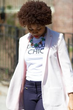 Pink blazer over white t-shirt! Gotta love the Elodie from Stella & Dot as well!