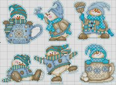 Coffee Snowmen Collection by Joan Elliott - Design Works Magazine Cross Stitch Christmas Ornaments, Xmas Cross Stitch, Cross Stitch Needles, Cross Stitch Cards, Cross Stitch Alphabet, Cross Stitch Kits, Christmas Cross, Cross Stitch Designs, Cross Stitching