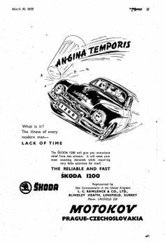 Skoda 1200 Motor Car Autocar Advert 1955