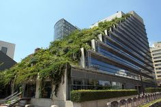 Acros Fukuoka building with Roof garden, in Fukuoka city, Japan.