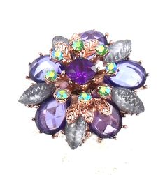 Betsey Johnson Jewelry Faceted Flower STRETCH RING Stand out in a crowd with this colorful stretch ring.  Betsey�s statement-making style boasts a myriad of colors with Flower Crystal  and mixed multi-colored crystal accents. Gold tone ring with star and cloud cabochon Mixed multi-colored crystal accents  Gold tone details Stretch Metal/glass/plastic 1.5 length x 1.5 width; 7mm shank Faceted Bead Collection Limited Edition