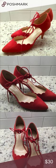 b16daf30066621 LIKE NEW Amelia Grace Red Ankle Tie Pumps Okay