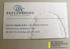 tarjetas de presentacion repujadas creativas para dentistas
