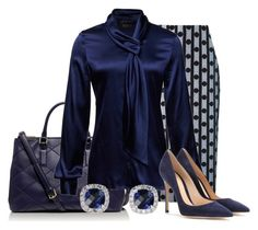 """Sapphire"" by tjinwa ❤ liked on Polyvore featuring Tory Burch, Araks, Isabel de Pedro and Gianvito Rossi"