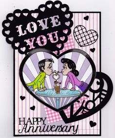 MILKSHAKE: KennyK digi stamp called Milkshake; papers are from the Nicola Storr Hugs With Henry paper pack; hearts and message on this card were cut on the Cameo