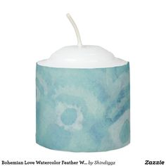 Bohemian Love Watercolor Feather Wedding Blue Votive Candle
