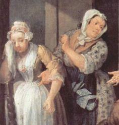 "1732. Detail of ""The Rake's Progress, #1"" by William Hogarth."