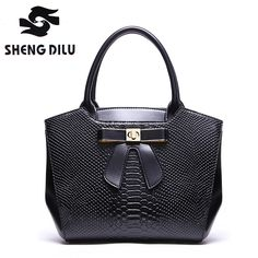 Hot New! 2017 Elegant Bow Knot Handbag For Women Cow Leather Serpentine Handbags Ladies Casual Totes Top-Handle Bags 2371