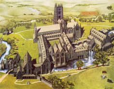 A reconstruction of Fountains Abbey, 12th C. Macmillan poster. Original poster for sale for £50 including VAT and postage within the UK.