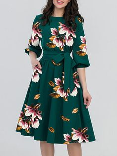 Round Neck Belt Floral Printed Skater Dress Fashion girls, party dresses long dress for short Women, casual summer outfit ideas, party dresses Fashion Trends, Latest Fashion # Women's Fashion Dresses, Women's Dresses, Cute Dresses, Dress Outfits, Casual Dresses, Floral Dresses, Skater Dresses, Sleeve Dresses, Floral Clothing