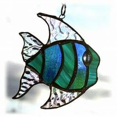 SOLD Tropical Fish Suncatcher Stained Glass Han... - Folksy #StainedGlassOcean